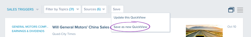 Save as new Quickview